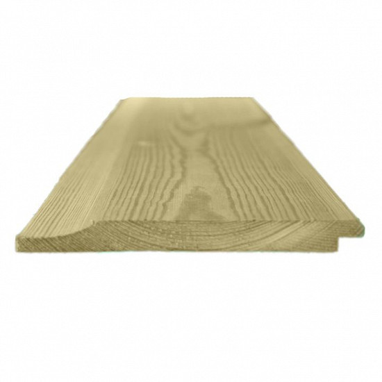 150mm x 15mm Thick Treated Wooden Shiplap Cladding Boards - L: 2.4m - pack of 50
