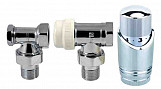 Angled chrome adjustable thermostatic radiator valves pack 1/2