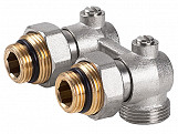 Angled Double Shut-off Heater Valve Bottom Water Entry Downside Inlet