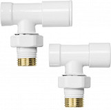 Angled white radiator valves set pack 1/2