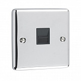 1 GANG TELEPHONE SECONDARY SOCKET - Polished Chrome Black