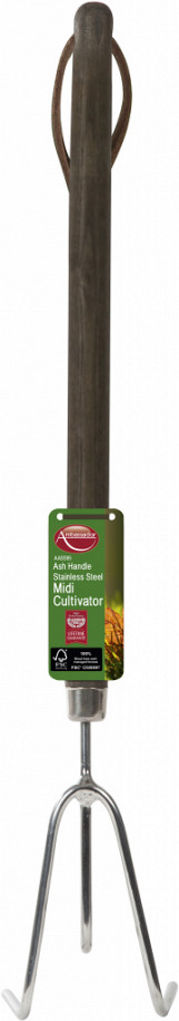 Ash Handle Stainless Steel Midi Cultivator - Length: 46cm