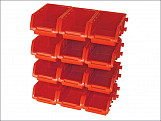 12 Plastic Storage Bins with Wall Mounting Rails
