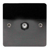 1 Way Black Nickel Flatplate 1 gang Telephone Extension Socket - black insert - Black Nickel