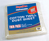 Pro Cotton Twill Dust Sheets Twin Pack - 12' x 9' (3.6mtr x 2.7mtr) approx