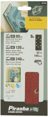 1/3 Sanding Sheets Orbital 93 x 185mm Hook & Loop Perforated (5) Assorted