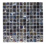 Black Hammered Glass Mosaic - 305x305mm - Black