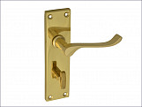 Backplate Handle Bathroom - Scroll Victorian Brass Finish 150mm