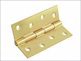 Butt Hinge Brass Finish 100mm (4in) Pack of 2