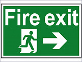 Fire Exit Running Man Arrow Right - PVC 300 x 200mm
