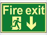 Fire Exit Running Man Arrow Down - Photoluminescent 300 x 200mm