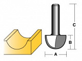 CARBITOOL CORE BOX ROUTER BIT 1/2