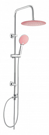 Chrome Plated Stainless Steel Shower Rainfall Bathroom Set Column with Pink Endings