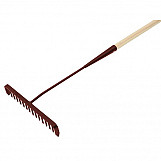 Faithfull FAITAR Tarmac Rake 16 Round Teeth - Wooden Handled