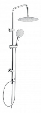 Chrome Plated Stainless Steel Shower Rainfall Bathroom Set Column with White Endings