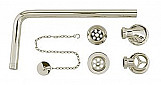 BC Designs PLUG & CHAIN Exposed Polished Nickel Extended Bath Waste - WAS033