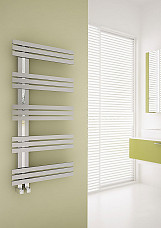 Carisa Alias Brushed Stainless Steel Designer Heated Towel Rail 1000mm x 500mm Dual Fuel - Thermostatic