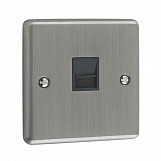 1 GANG TELEPHONE MASTER SOCKET  - Brushed Chrome Black
