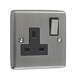 1 GANG 13A DOUBLE POLE SOCKET  - Brushed Chrome Black