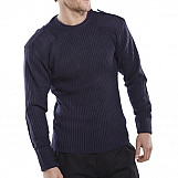 Click AMODCNL Acrylic MOD Military Style Sweater Crew Neck Navy Blue Large