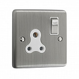 5AMP 1 GANG UNSWITCHED SOCKET  - Brushed Chrome White