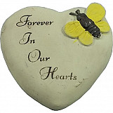 "Heart Shaped Memorial Message Stone ""Forever In Our Hearts"""