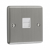 1 GANG TELEPHONE SECONDARY SOCKET  - Brushed Chrome Black