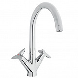 Double Lever Elegant Kitchen Sink Vertical Mounted High Spout Chrome Tap Faucet