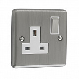 1 GANG 13A DOUBLE POLE SOCKET  - Brushed Chrome White