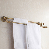 Antique Brass Bathroom Dual Towel Bars 60cm Double Rails Hanger Wall Mounted