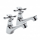 Chrome Plated Brass Double Uk Bathroom Sink Separate Taps Set Hot + Cold Water