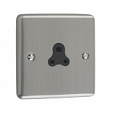 2 AMP UNSWITCHED SOCKET  - Brushed Chrome Black