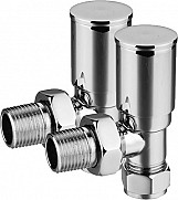 Eastgate Angled Round Top Chrome Radiator Valves (1 pair)