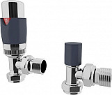 Eastgate Anthracite Angled Thermostatic Radiator Valve TRV pack 2
