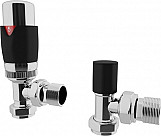 Eastgate Black Angled Thermostatic Radiator Valve TRV Pack 2
