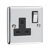 1 GANG 13A DOUBLE POLE SOCKET - Polished Chrome Black