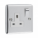 1 GANG 13A DOUBLE POLE SOCKET - Polished Chrome White