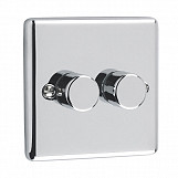 400W 2 GANG PUSH 2 WAY DIMMER - Polished Chrome