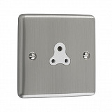 2 AMP UNSWITCHED SOCKET  - Brushed Chrome White