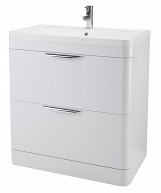 Eastgate Olympus Floor Standing 2 Drawer Basin & Cabinet 800mm H x 800mm W - High Gloss White
