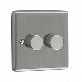 400W 2 GANG PUSH 2 WAY DIMMER  - Brushed Chrome