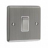 1 GANG 10A 2 WAY SWITCH - Brushed Chrome White