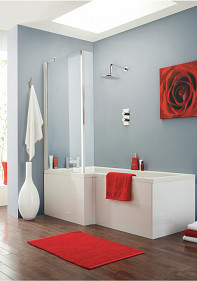 Eastgate Bath, Screen & Side Panel Right Hand Bath - White