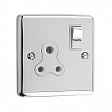 5AMP 1 GANG UNSWITCHED SOCKET - Polished Chrome White