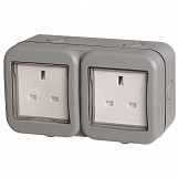 BG Weatherproof IP55 13Amp Unswitched 2 Gang Socket  WPB24-01