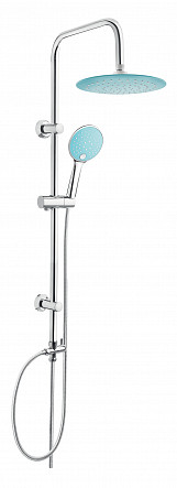Chrome Plated Stainless Steel Shower Rainfall Bathroom Set Column with Turquoise Endings