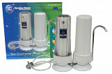 2 Stage Filtration System Countertop Double Drinking Water Filter with Faucet