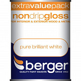 Berger Non Drip Gloss 1.25L Pure Brilliant White Pure Brilliant White