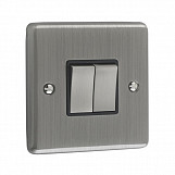 2 GANG 10A 2 WAY SWITCH - Brushed Chrome Black