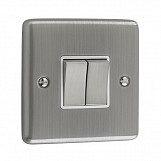 2 GANG 10A 2 WAY SWITCH - Brushed Chrome White